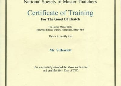 Certficate of training-For The Good Of Thatch