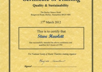 Certificate of Training - Quality & Sustainability
