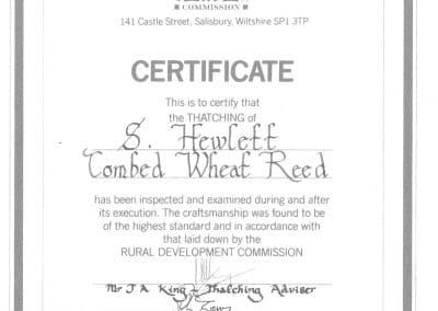Combed Wheat Reed Certificate