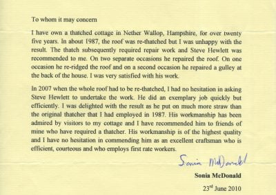 Sonia McDonald Letter